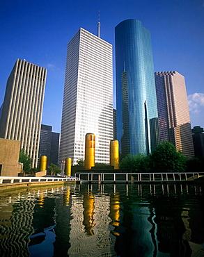 Tall office buildings, Tranquility park, Houston, Texas, USA.