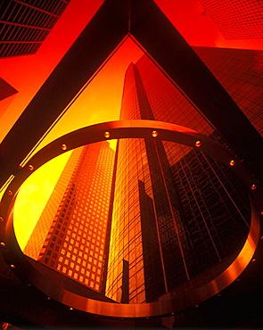 Architecture: tall office buildings, Louisianna street, Houston, Texas, USA.