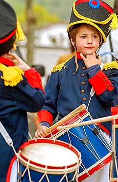 Tamborrada, Basque folklore, Fiestas de la Cruz, Legazpi, Gipuzcoa, Basque Country, Spain