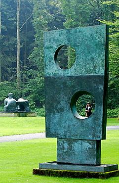 'Squares With Two Circles' (1963) sculpture by Barbara Hepworth in Kroller-Muller Museum garden, Het Nationale Park De Hoge Veluwe, Gelderland, Netherlands