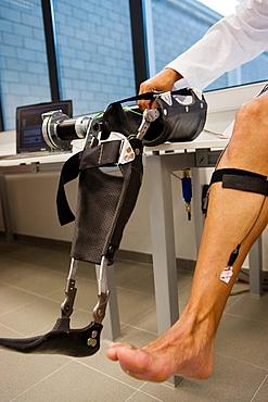 Biomechanics: researchers developing exoskeleton intended for people suffering from muscular weakness in the lower limbs, Fatronik Foundation, Research Technology Center, Donostia, San Sebastian, Gipuzkoa, Euskadi, Spain.