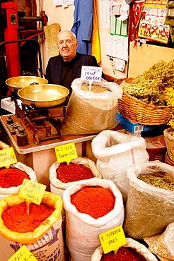 Stall at the Misir Carsisi (Egyptian bazaar), Istanbul, Turkey.