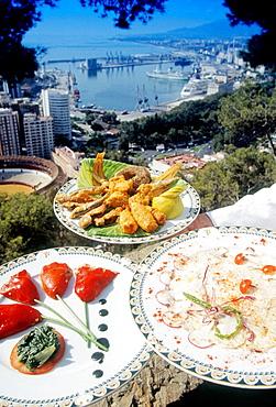 Food at Parador de Gibralfaro, Malaga, Spain