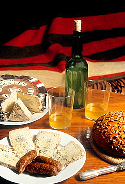 Food: 'Chorizo' red sausages, 'Cabrales' cheese and cider, Asturias, Spain.