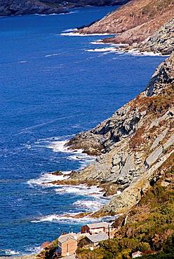 Coast near Pino, in the Cap Corse, Corsica, France.