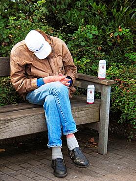 Alcohol, alcoholic, alcoholism, beer, man, nap, Eckernfsrde, Schleswig-Holstein, Germany.
