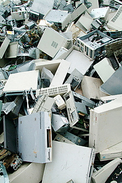 A mountain of computers, Recycling plant, Skelleftea, Sweden.