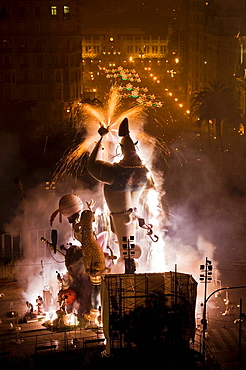'Fallas' at night, Valencia, Comunidad Valenciana, Spain