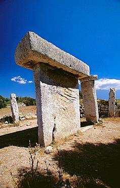 Taula (table), prehistoric structure in the archeological site of Talati de Dalt, Minorca, Balearic Islands, Spain