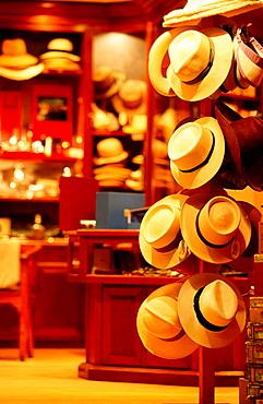 Straw hat shop, Gustavia, Saint Barthelemy, French West Indies, Caribbean