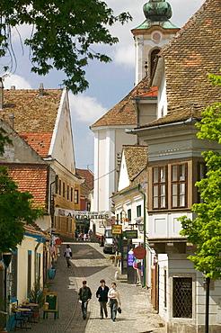 Danube River Tourist Town of Szentendre, View along Gorog Utca (Street), Szentendre, Danube bend, Hungary, 2004.
