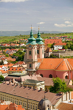 Town & Minorite Church from Lyceum Rooftop, Eger, Northern Uplands, Hungary, 2004.