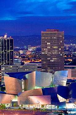 Evening View of  Walt Disney Concert Hall from Los Angeles City Hall, Downtown, Los Angeles, California, USA.