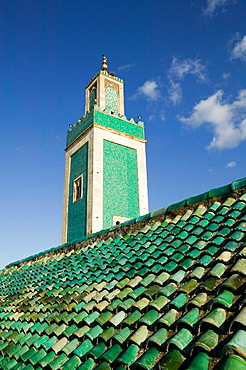 Morocco-Meknes: Exterior View of the Grande Mosque Minaret from the Medersa Bou Inania - 817-80103