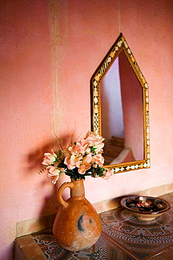Flowers, Room Detail in traditional Moroccan Desert House (Chez Julia), Merzouga, Tafilalet, Morocco.