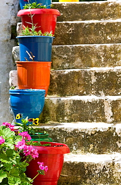 Staircase with Flower Planters, Fiskardo, Kefalonia, Ionian Islands, Greece.