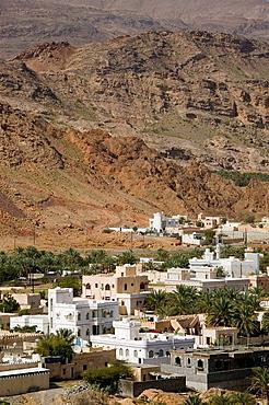 OMAN-Western Hajar Mountains-Fanja: View of Fanja Town from Highway to Nizwa