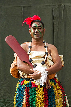 New Caledonia - Grande Terre Island - Noumea -  Army Day Festival -  Army of Tonga Marching Band member in traditional uniform