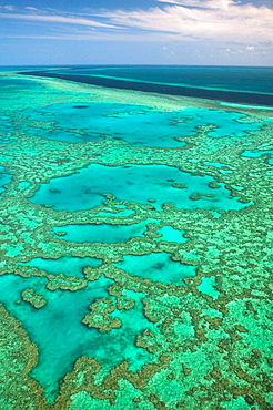 AUSTRALIA - Queensland - WHITSUNDAY COAST - Great Barrier Reef: Aerial of the Great Barrier Reef by the Whitsunday Coast with its 'River'