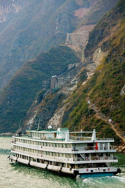 China, Hubei Province, Yangzi River, Yangzi River shipping by Wu Gorge