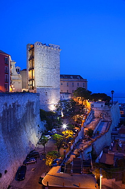 Italy, Sardinia, Cagliari, Il Castello Old Town, Torre dell' Elefante tower, evening