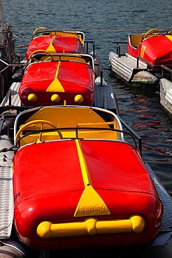 Italy, Lombardy, Lakes Region, Lake Como, Como, pedal boats