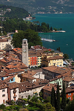 Italy, Trentino-Alto Adige, Lake District, Lake Garda, Riva del Garda, aerial town view with the Torre Apponale, 13th century tower