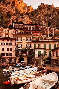 Italy, Lombardy, Lake District, Lake Garda, Limone sul Garda, Porto Vecchio, old port, dawn