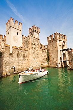 Italy, Lombardy, Lake District, Lake Garda, Sirmione, Castello Scaligero, b 1250