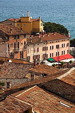 Italy, Lombardy, Lake District, Lake Garda, Desenzano del Garda, town view from the Castello