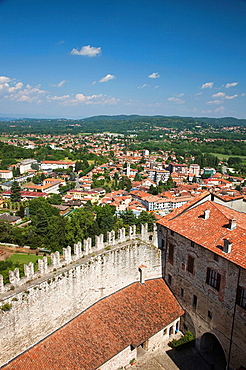 Italy, Lombardy, Lake Maggiore, Angera, La Rocca fortress, walls and town overview