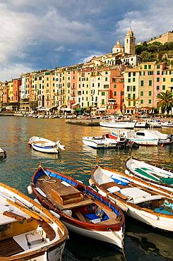 Italy, Linguria, Porto Venere, Colourful seaside town on the Italian Riviera, south of Cinque Terre National Park.