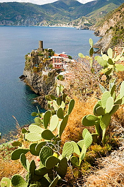 Italy, Cinque Terre, Veranazza, View of one of the five villages of the Cinque Terre, Connected by a footpath along the Mediterranean coast.