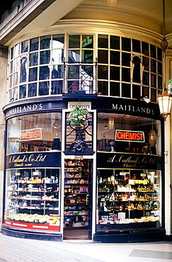 Pharmacy shop front, London, England, UK