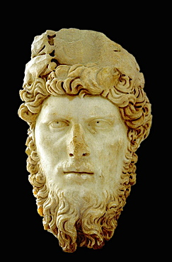 Head of Lucius Verus statue at the Bardo National Museum, Tunis, Tunisia