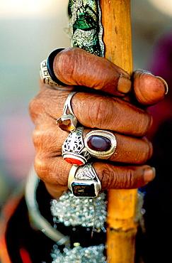 Sufi man's hand with jewelry, Pakistan - 817-95880