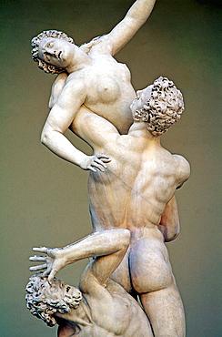 The 'Rape of the Sabines' (1579-83), freestanding sculpture by Giambologna at Loggia dei Lanzi, Piazza della Signoria, Florence, Italy