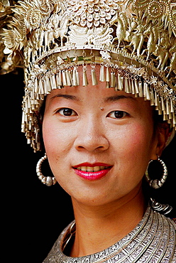 China, Guizhou province, Xijiang village, Skirt Miao, Miao girls in traditional costume and silver hairdress