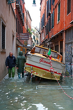 Stranded taxi boat during the high tide in Venice, November 2019, Venice, UNESCO World Heritage Site, Veneto, Italy, Europe