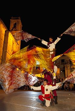 Flag throwing during village festival, Vacri, Abruzzo, Italy, Europe