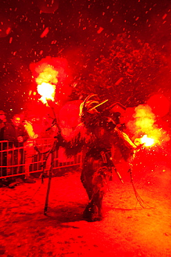 Krampus is a mythical creature recognized in Alpine countries, Campo Tures, South Tyrol, Bolzano, Italy, Europe