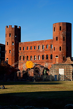 The Palatine Gate (Porta Palatina), the ancient  access from the North to Julia Augusta Taurinorum, the roman Civitas now known as Turin. Turin, Piedmont, Italy, Europe
