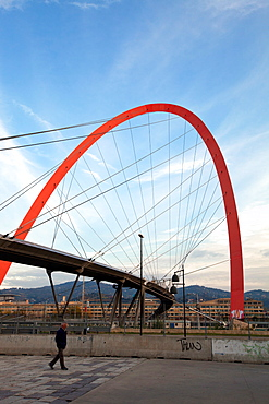 The Olympic Arch of Turin, a pedestrian bridge, symbol of the XX Olympic Winter Games held in 2006, Turin, Piedmont, Italy, Europe