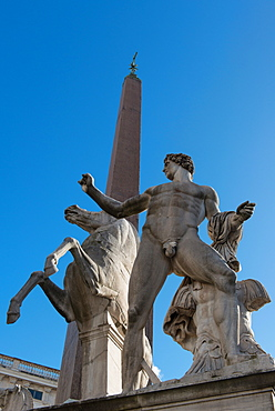 Castor and Pollux statue in front of the Quirinale, the home of the President of the Italian Republic, Rome, Lazio, Italy, Europe