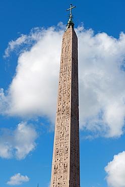 The Egyptian obelisk in the middle of Piazza del Popolo, Rome, Lazio, Italy, Europe
