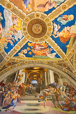 The Expulsion of Heliodorus from the Temple by Raphael, in the Stanze di Raffaello, in the Apostolic Palace in the Vatican, Vatican Museums, Rome, Lazio, Italy, Europe