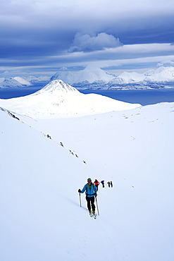 Ski touring in the Lyngen Alps, Lyngen peninsula, Troms County, Norway, Scandinavia, Europe