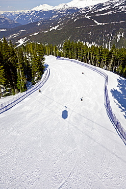 Aerial view of ski run, Whistler mountain, Whistler Blackcomb Ski Resort, Whistler, British Columbia, Canada, North America