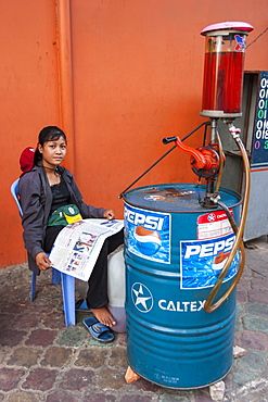 Gas station, Phnom Penh, Cambodia, Indochina, Southeast Asia, Asia