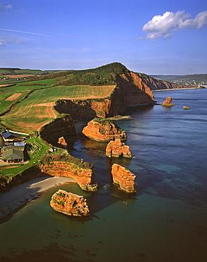 Aerial image of Rock Stacks, Otter Sandstone of Triassic age, Ladram Bay, Devon, England, United Kingdom, Europe